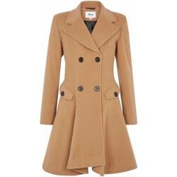 Kleidung Damen Mäntel De La Creme Wolle Winter Zweireihiger Fit und Flare Wintermantel Beige
