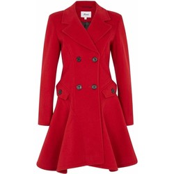 Kleidung Damen Mäntel De La Creme Wolle Winter Zweireihiger Fit und Flare Wintermantel Red
