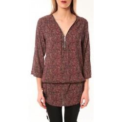 Kleidung Damen Langarmshirts De Fil En Aiguille Robe Noémie & Co E1485-37 Rose/Noir Rose