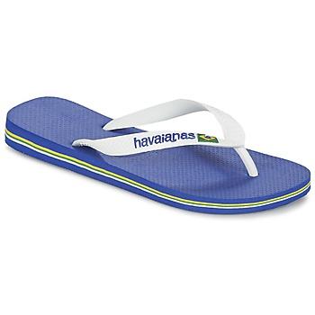 Schuhe Zehensandalen Havaianas BRASIL LOGO Weiss / Marine