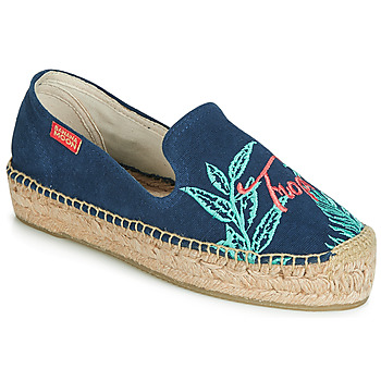 Schuhe Damen Leinen-Pantoletten mit gefloch Banana Moon VERAO Blau
