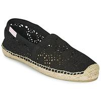 Schuhe Damen Leinen-Pantoletten mit gefloch Banana Moon NIWI Schwarz