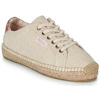 Schuhe Damen Leinen-Pantoletten mit gefloch Banana Moon PACEY Beige