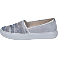 Schuhe Damen Slip on Janet Sport slip on grau wildleder silber strass BT420 grau