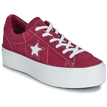 Schuhe Damen Sneaker Low Converse ONE STAR PLATFORM SUEDE OX Fuchsienrot / Weiss