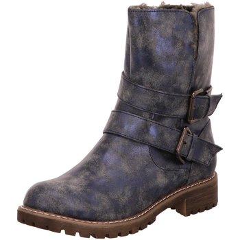 Schuhe Damen Low Boots Laufsteg München Stiefeletten 180508 blau