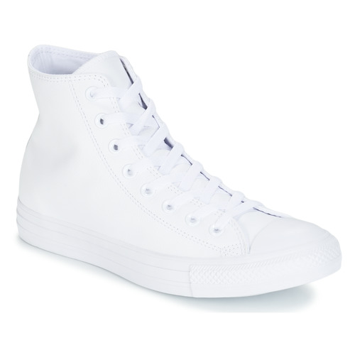 Schuhe Sneaker High Converse ALL STAR MONOCHROME CUIR HI Weiss