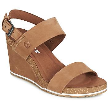 Schuhe Damen Sandalen / Sandaletten Timberland CAPRI SUNSET WEDGE Braun