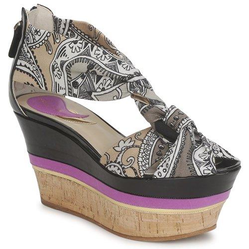 Etro 3467 Grau / Schwarz / Violett  Schuhe Sandalen / Sandaletten Damen 269,50