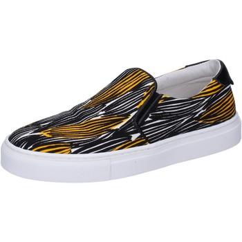 Schuhe Damen Slip on Liu Jo slip on schwarz segeltuch gelb BT578 schwarz