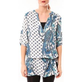 Kleidung Damen Kurze Kleider De Fil En Aiguille Tunique Love Look 1102 Bleu/Blanc Blau