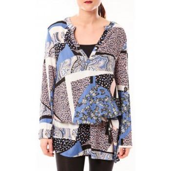 Kleidung Damen Kurze Kleider De Fil En Aiguille Tunique Love Look 1102 Bleu Blau