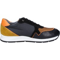 Schuhe Herren Sneaker Low Roberto Botticelli sneakers schwarz leder orange wildleder BT543 schwarz