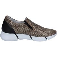 Schuhe Damen Slip on Elena Iachi slip on mokassins gold glitter schwarz leder BT588 GOLD