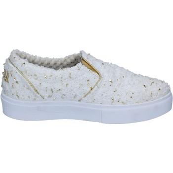 Schuhe Damen Slip on 2 Stars slip on weiß textil gold BZ525 weiß