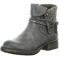 Schuhe Damen Boots Laufsteg München Stiefeletten HW180202A GUNMETAL KNIT grau