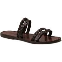 Schuhe Damen Pantoffel Gianluca - L'artigiano Del Cuoio 575 D MORO CUOIO Testa di Moro