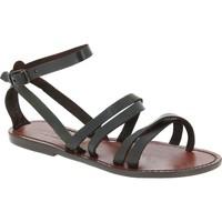 Schuhe Damen Sandalen / Sandaletten Gianluca - L'artigiano Del Cuoio 581 D MORO CUOIO Testa di Moro