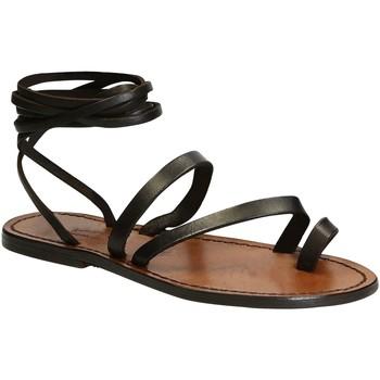 Schuhe Damen Sandalen / Sandaletten Gianluca - L'artigiano Del Cuoio 513 D MORO CUOIO Testa di Moro