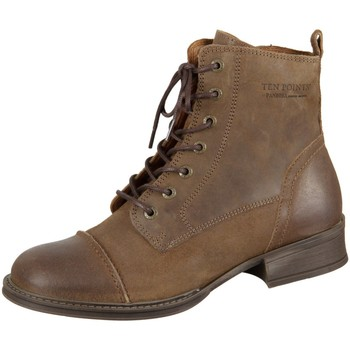 Schuhe Damen Boots Ten Points Stiefeletten Pandora 126015-332 tobacco Leather 126015-332 braun