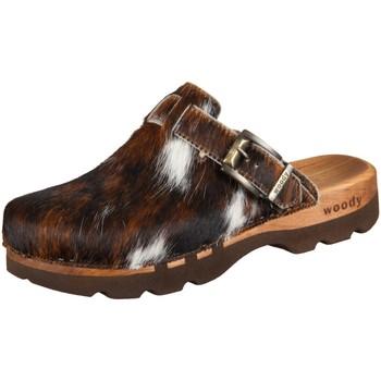 Schuhe Herren Pantoletten / Clogs Woody Offene Lukas 6911 natur Fell 6911 braun