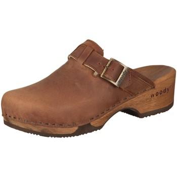 Schuhe Damen Pantoletten / Clogs Woody Pantoletten Manu 6526 tabacco Fettleder 6526 braun