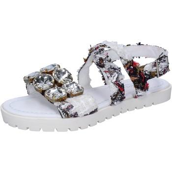 Ioannis sandalen weiß textil strass BT873 weiß - Kostenloser Versand |  - Schuhe Sandalen / Sandaletten Damen 2999