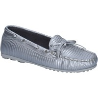 Schuhe Damen Slipper K852 & Son mokassins silber leder BT934 silber