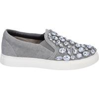 Schuhe Damen Slip on Sara Lopez slip on grau segeltuch steine BT992 grau