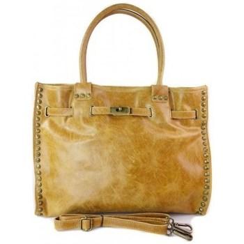 Taschen Damen Handtasche Vera Pelle SB577C Gelb, Honigfarbig