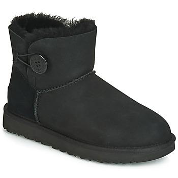 Schuhe Damen Boots UGG MINI BAILEY BUTTON II Schwarz