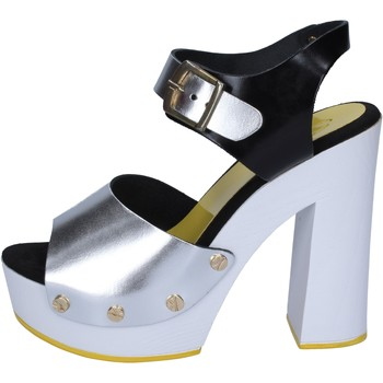 Schuhe Damen Pumps Suky Brand sandalen silber schwarz leder BS16 silber