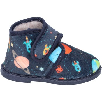 Schuhe Jungen Hausschuhe Blaike jungen  pantoffeln blau textil BS50 blau