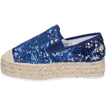 Schuhe Damen Slipper Francescomilano mokassins blau textil paillettes BS75 blau