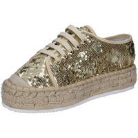 Schuhe Damen Sneaker Low Francescomilano sneakers platin textil paillettes BS77 PLATIN