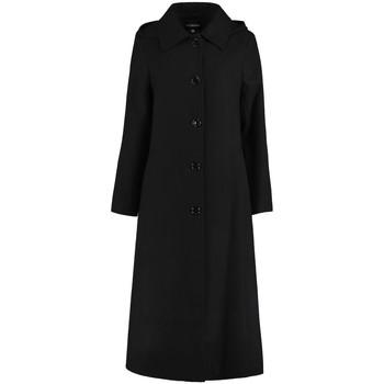 Kleidung Damen Mäntel De La Creme Langer, abnehmbarer Wintermantel mit Kapuze Black