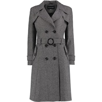Kleidung Damen Trenchcoats De La Creme Tweed-Winter-Trenchcoat mit Fischgrätenmuster Black