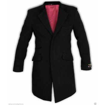 Kleidung Herren Mäntel De La Creme Woll-Kaschmir-Samtüberzug-Mantel Black