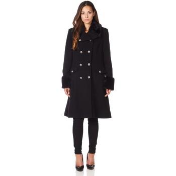 Kleidung Damen Mäntel De La Creme Wintermantel aus Kaschmirwolle mit Pelzkragen Black