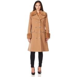 Kleidung Damen Mäntel De La Creme Wintermantel aus Kaschmirwolle mit Pelzkragen BEIGE