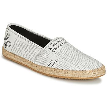 Schuhe Herren Leinen-Pantoletten mit gefloch John Galliano 6715 Weiss