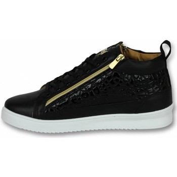 Schuhe Herren Sneaker High Cash Money Sneaker Croc Black Gold Schwarz