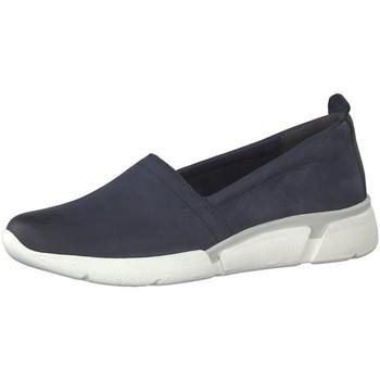 Schuhe Damen Slip on Marco Tozzi Slipper  22 24727 22 805 navy blau
