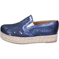Schuhe Damen Leinen-Pantoletten mit gefloch Olga Rubini mokassins blau textil pailletten BS110 blau