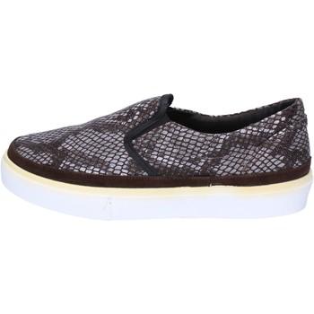 Schuhe Damen Slip on 2 Stars slip-on dunkelbraun textil grau wildleder ap718 braun