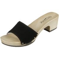Schuhe Damen Pantoletten Softclox Pantoletten Kelly 3382-01 Kaleido Kaschmir 3382-01 schwarz