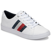Schuhe Damen Sneaker Low Tommy Hilfiger CRYSTAL LEATHER CASUAL SNEAKER Weiss