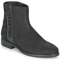 Schuhe Damen Boots Tommy Jeans TOMMY JEANS ZIP FLAT BOOT Schwarz