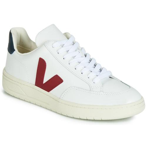 Schuhe Sneaker Low Veja V-12 LEATHER Weiss / Blau / Rot