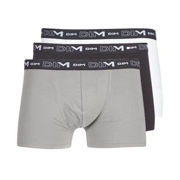 Unterwäsche Herren Boxer DIM COTON STRETCH X3 Schwarz / Grau / Weiss